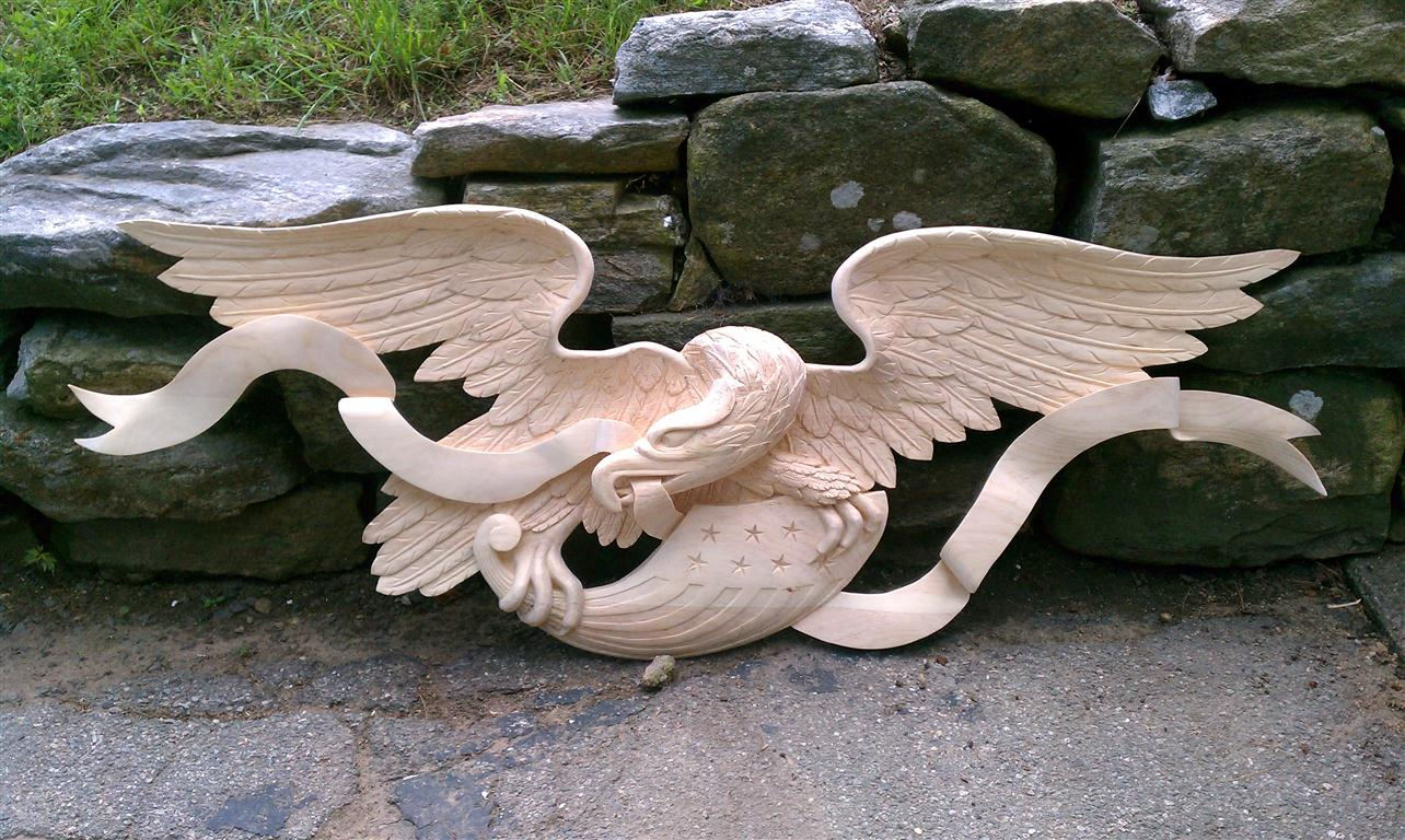 Boston artistic carving company eagle john shortell carved