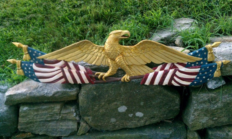 Eagle Standing On Flags John Shortell Carved Eagles