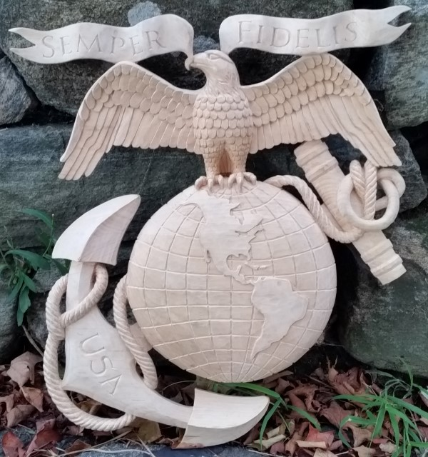 Carving a Marine Anchor and Globe Emblem Continued